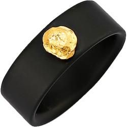 Photo of Diemer colored stone, onyx ring with gold nugget, black Diemer