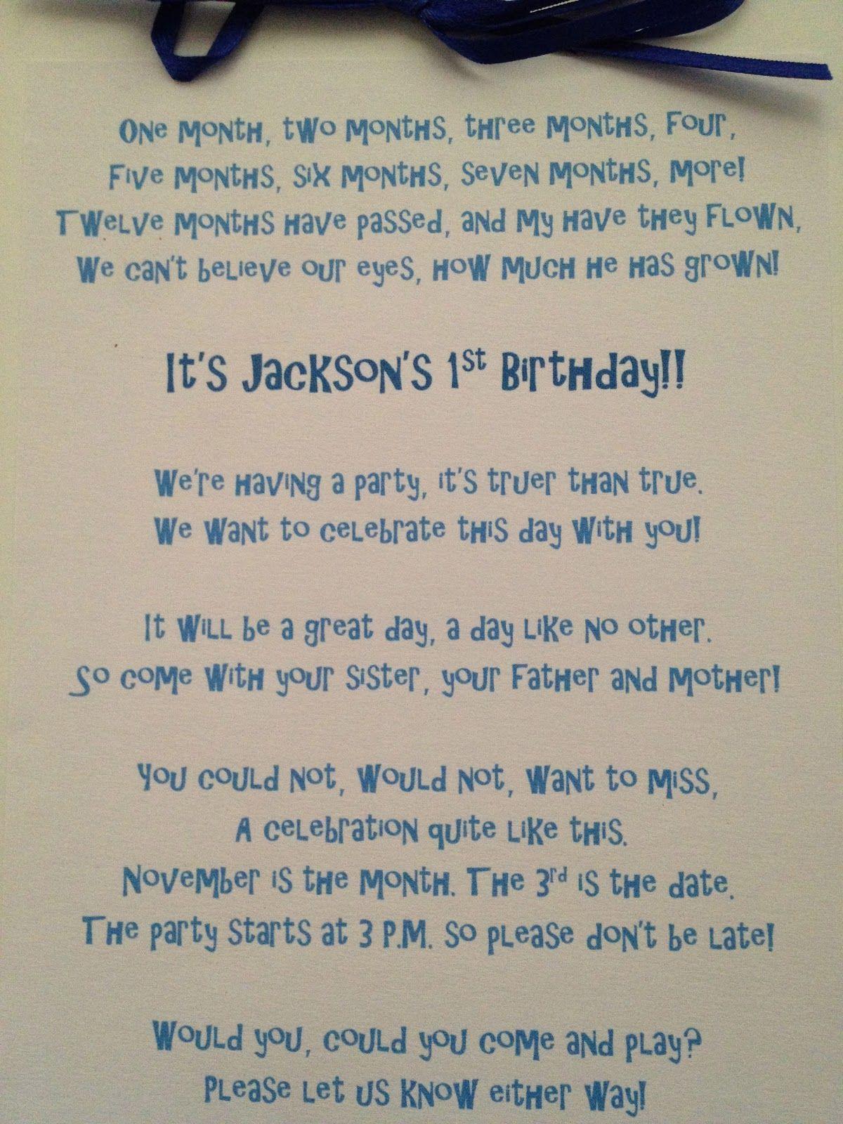 Poem written for inside of Dr. Suess 1st birthday invitation ...