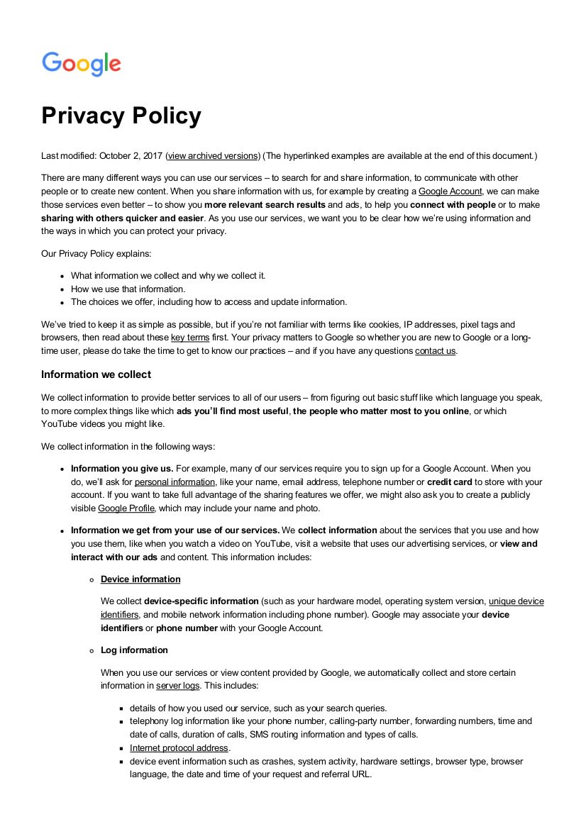 Free 18 Privacy Policy Examples In Pdf Google Docs Throughout Credit Card Privacy Policy Tem Policy Template Business Card Template Photoshop Best Templates Privacy policy template for website