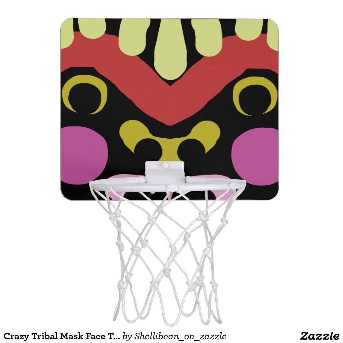 Crazy Tribal Mask Face Totem Art Mini Basketball Backboards