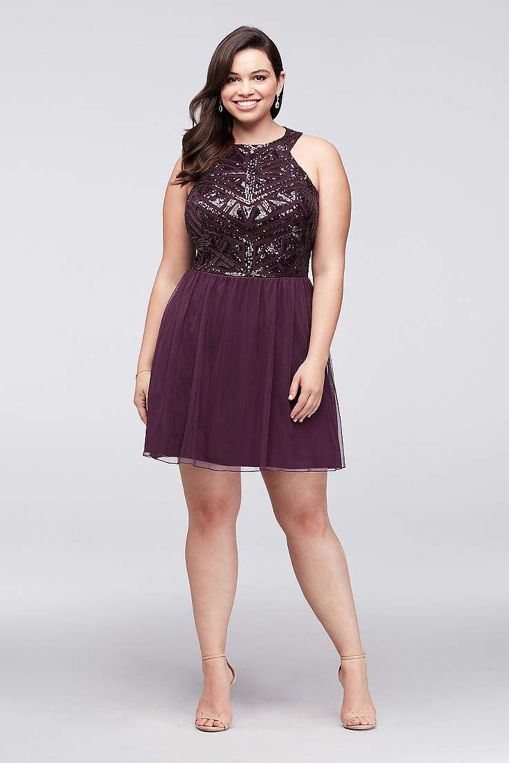 aadbe1ef7cc61 Find plus size prom dresses at David s Bridal! Our collection includes plus  size prom dresses in a variety of styles   colors such as short