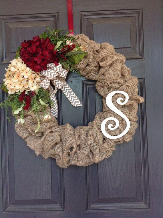 Photo of Front Door Spring / Summer, All season Burlap hydrangea wreath with Momogram
