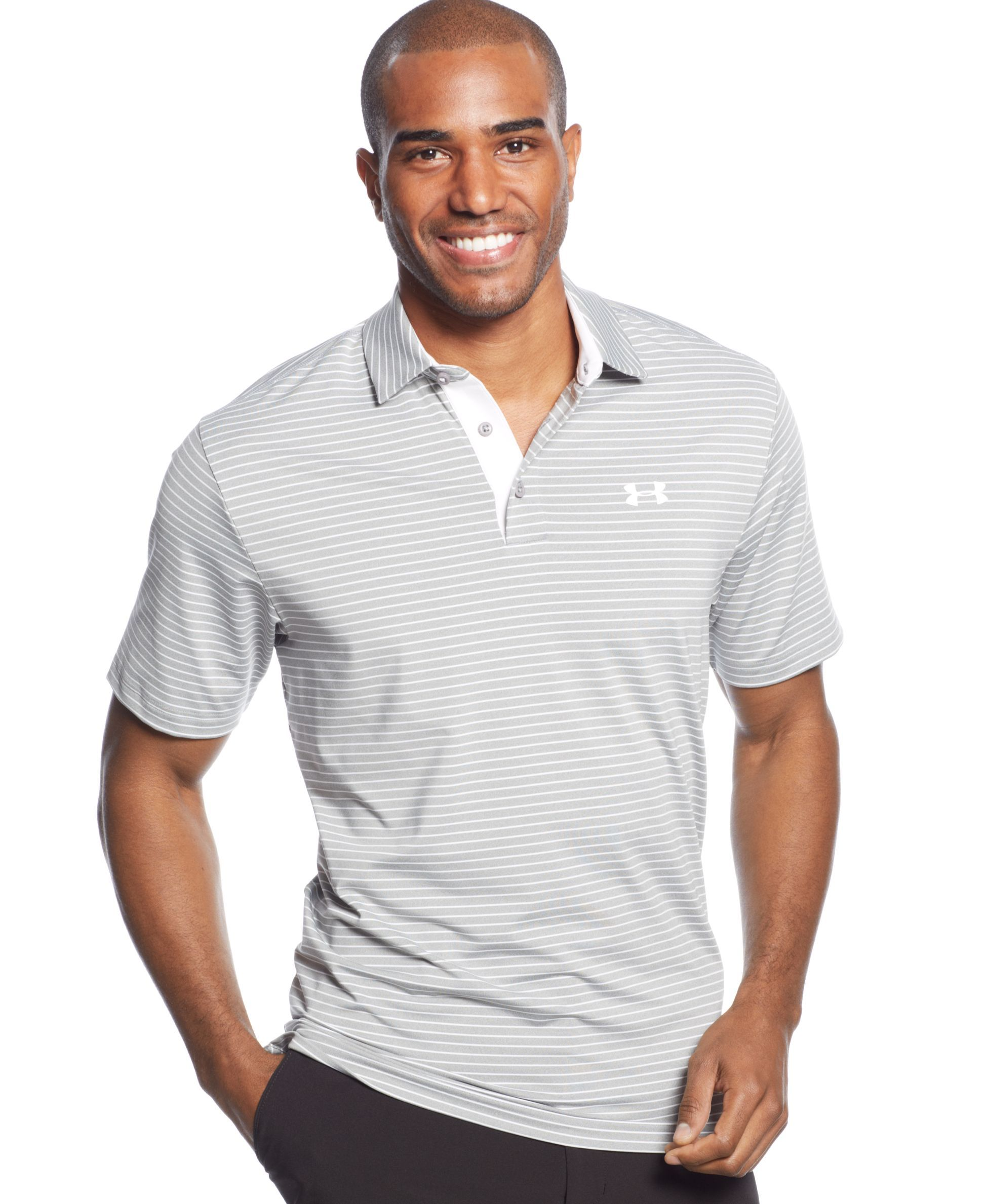 Under Armour Playoff Striped Performance Polo