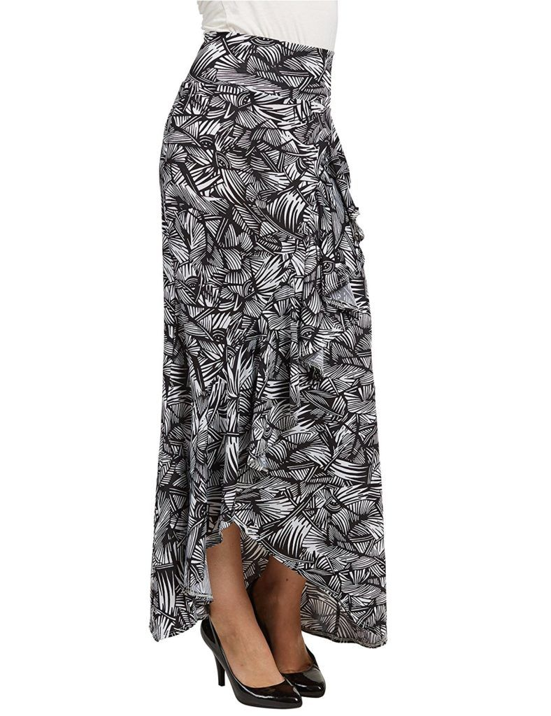 23f3f7f132 Lock and Love LL Womens Wrapped High Low Ruffle Maxi Skirt – Made In USA