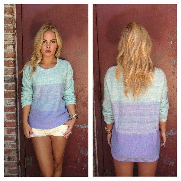 Lilac & Mint Ombre Knit Sweater | Online fashion boutique ...