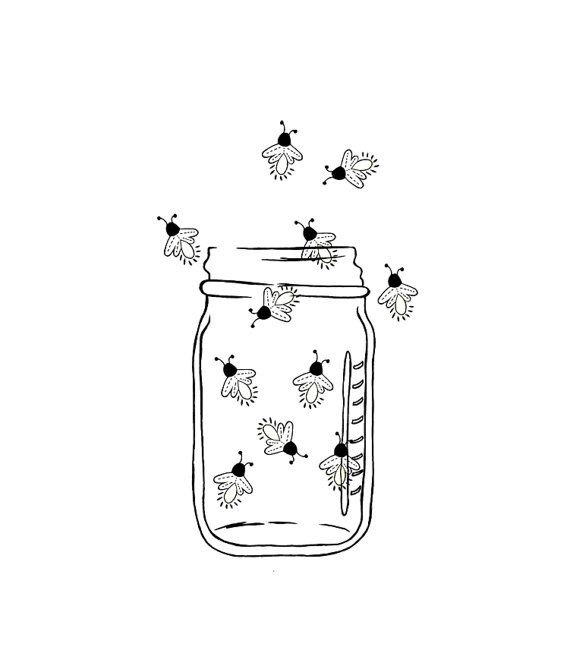 Mason Jar Image Outline - Fireflies - Lightning bugs - Digital ...