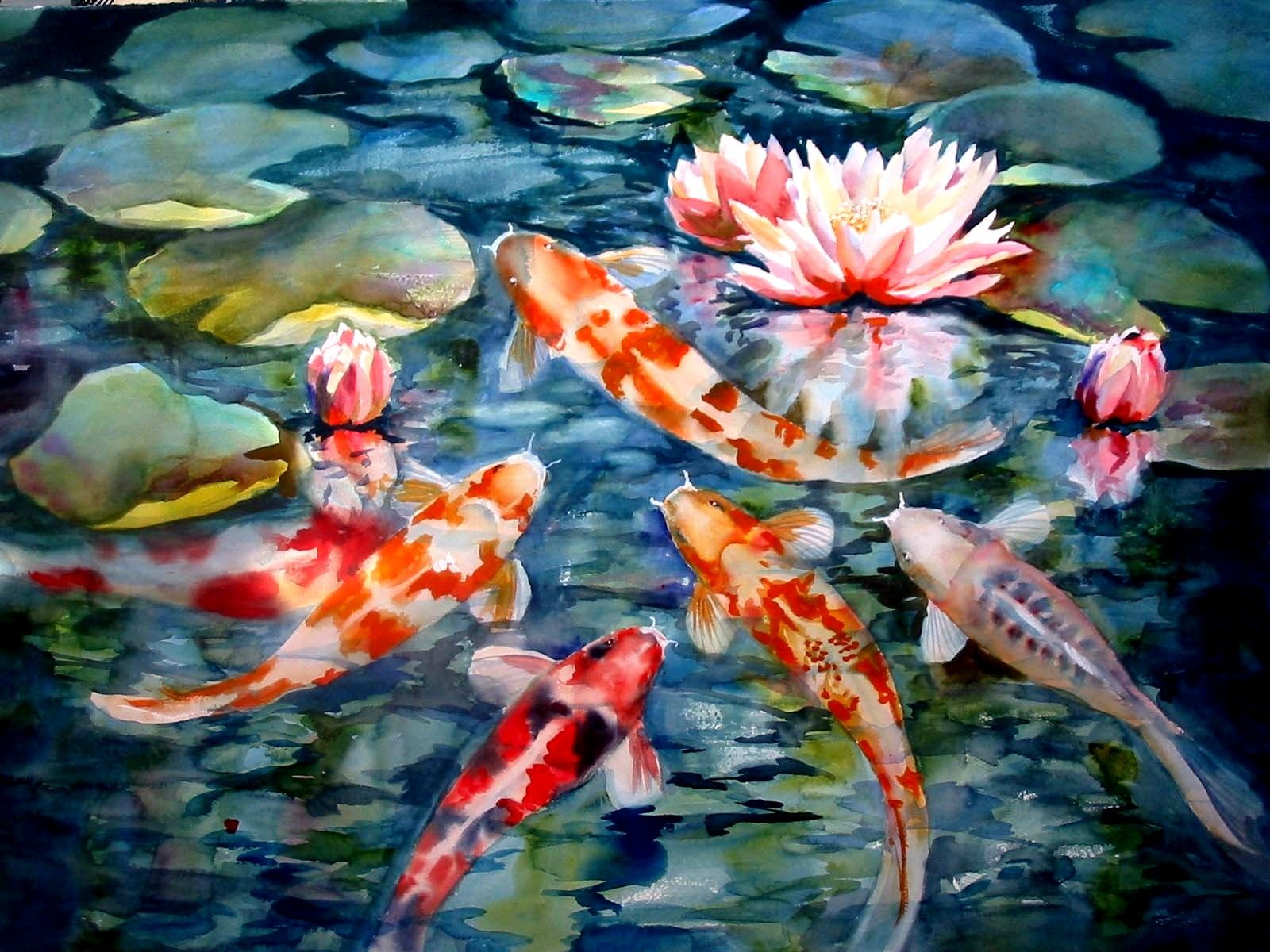 Gliders Koi Pond Jpg 1600 1200 Koi Watercolor Koi Painting Koi Wallpaper