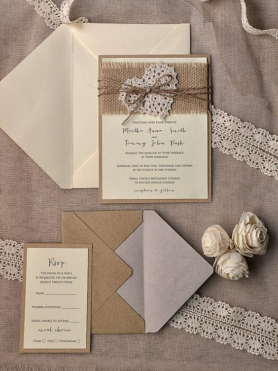 Lovely Rustic Burlap Heart Wedding Invitation Kits