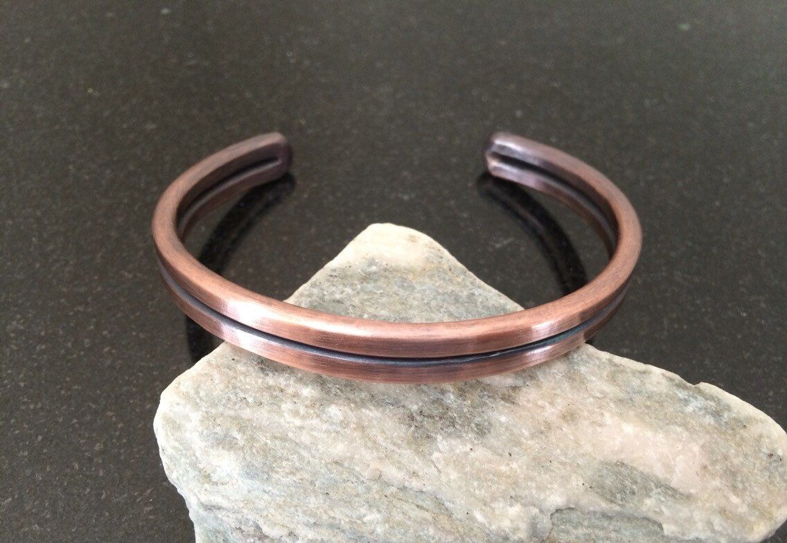 Copper Bracelet - BR029P Flat Hammered Double Bar Mens Patina Copper Bracelet by CopperMillDesigns on Etsy https://www.etsy.com/listing/258484557/copper-bracelet-br029p-flat-hammered