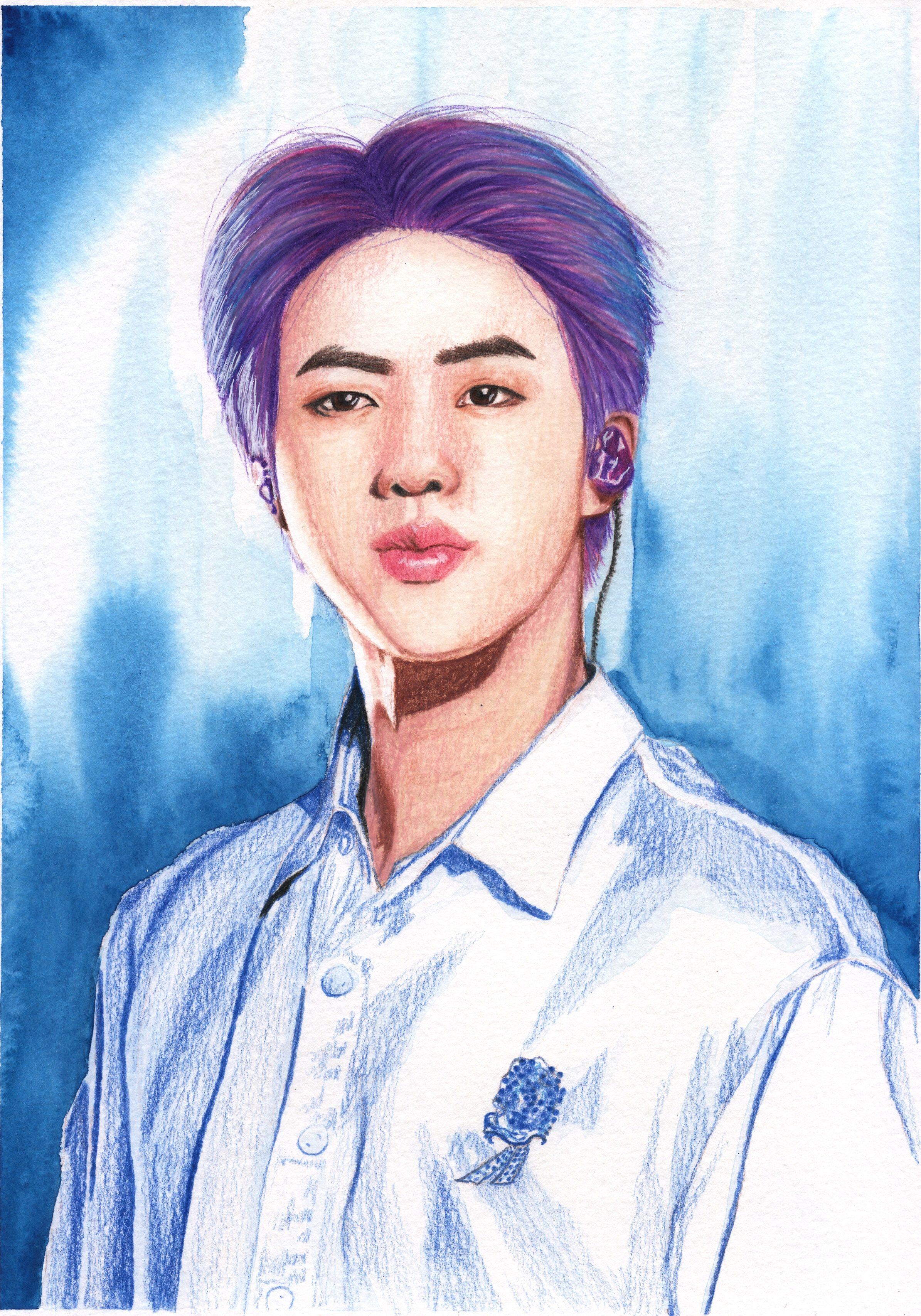 Bts Jin Mixedmedia Portrait Purple Hair Etsy Etsy Art Etsy Pinterest Etsy