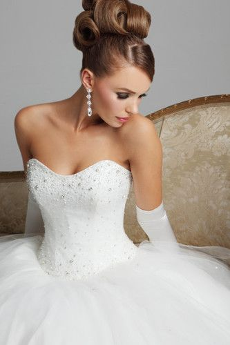 Top Quality White Sweetheart Princess Wedding Dress Prom Gown Size