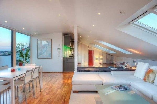 Elegant Maisonette Wohnung Offener Wohnbereich Mit Dachschräge Awesome Design