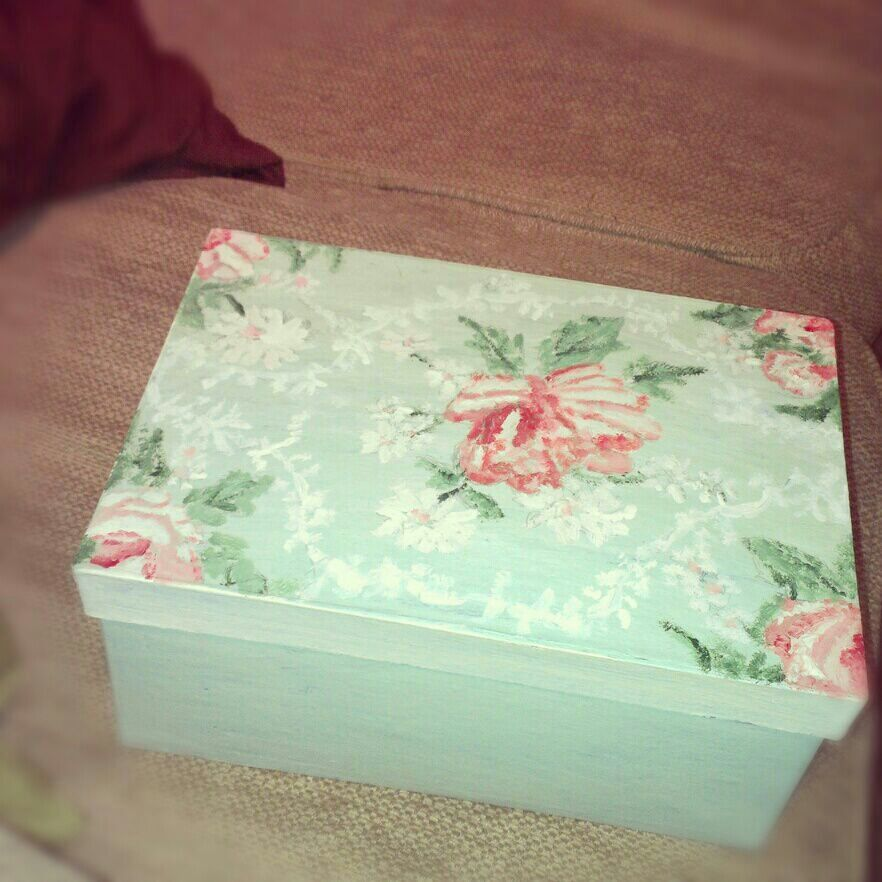 This is a paper mache box which I have painted with acrylic paints. I wanted it to look a bit shabby chic :)