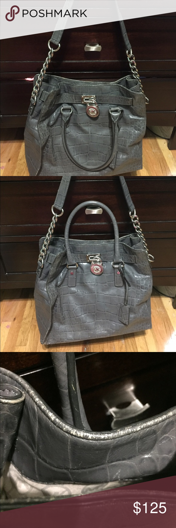 Michael Kors Grey Worn- good condition- normal wear and tear- some ink stains inside Michael Kors Bags Satchels