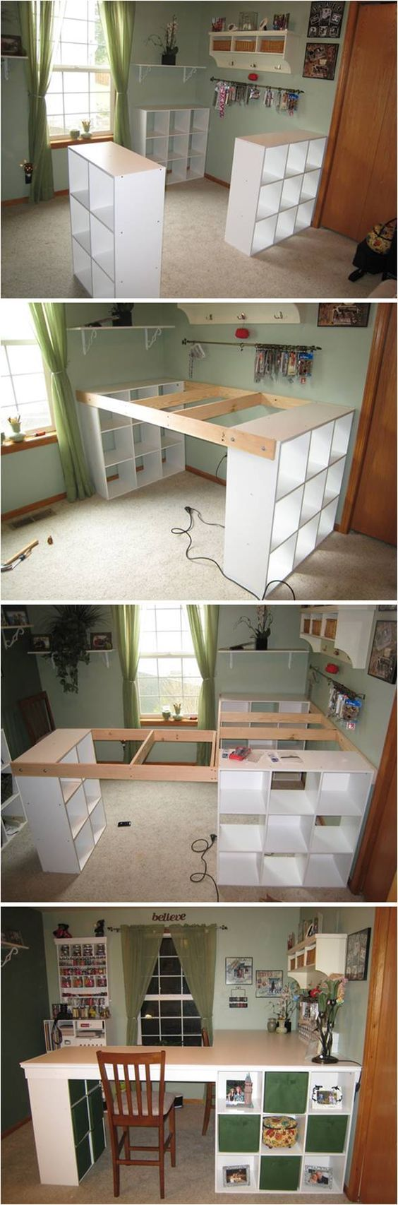 Creative Ideas Diy Customized Craft Desk I Am Always A Fan Of L Shaped Layouts For Desks And Work Spaces Ikea Craft Room Craft Room Desk Craft Room Tables