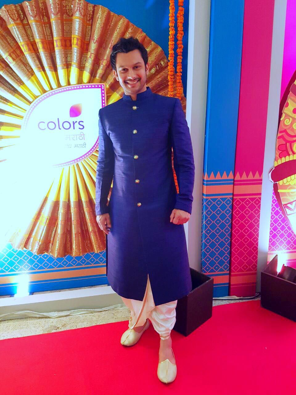 Actor Adinath Kothare in Bubber Couture's Blue rawsilk 'Maharao