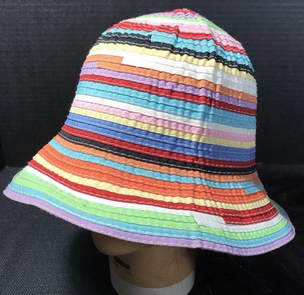 900688719 Filippo Catarzi Womens Multicolor Packable Italian Ribbon Hat | eBay ...