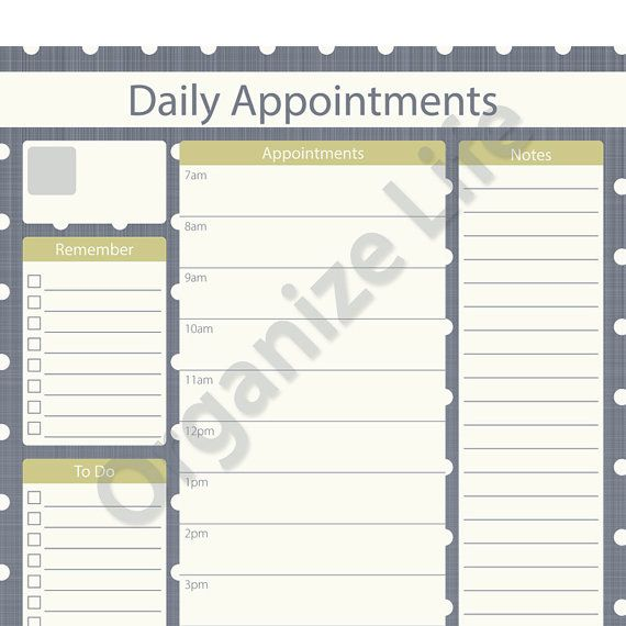 Gorgeous Daily Appointment Planner  Printable Pdf By Organizelife