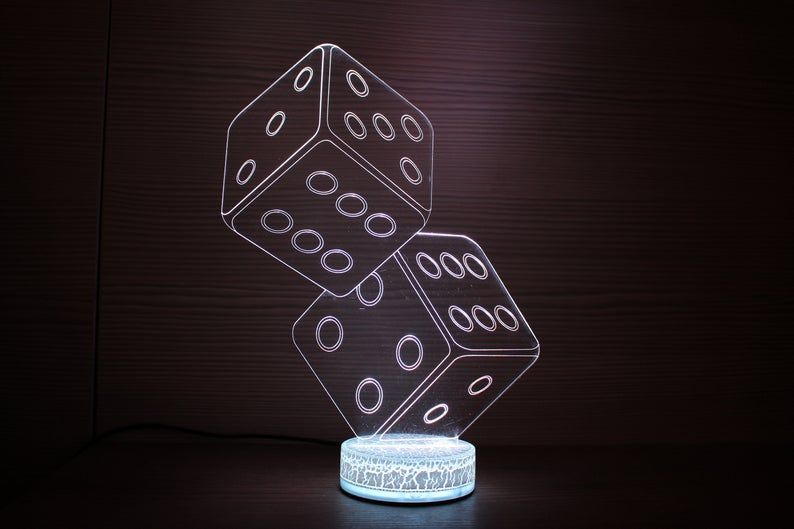 Dices Gifts 3d Night Lamp Night Light Home Decor 3d Illusion Etsy Night Lamps Lamp Dice Gifts