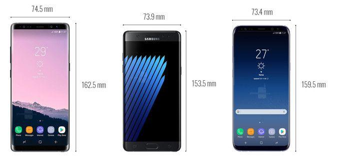 Big Screen Smartphone Size Comparison Galaxy Note 8 Vs 7 S8