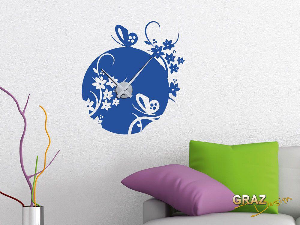 wandtattoo uhr mit uhrwerk wanduhr f r wohnzimmer schmetterlinge ornamente home d co. Black Bedroom Furniture Sets. Home Design Ideas