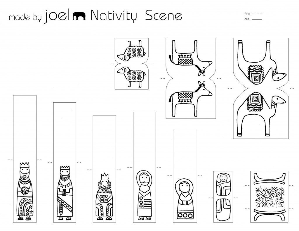 made by joel paper city nativity scene template kids craft 2