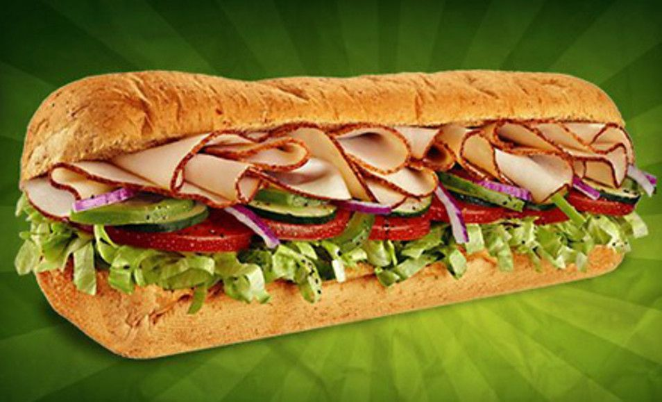 Groupon - Sub Meal with Chips and Soft Drinks for Two or Five 6-Inch Sub Sandwiches at Subway (Up to 58% Off). Groupon deal price: $10.00