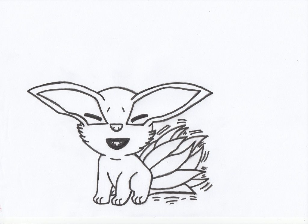 young Kurama nine tails chibi lineart by charasasuke on