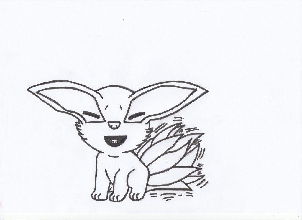 Young Kurama Nine Tails Chibi Lineart By Charasasuke On