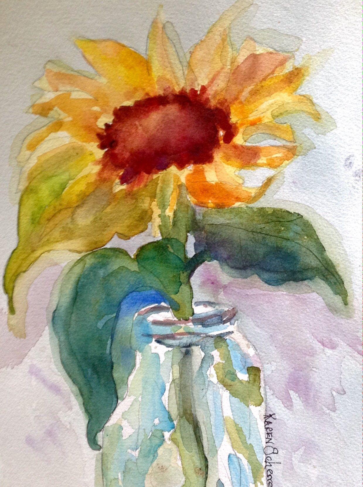 Watercolor artist in texas -  Saturday S Sunflower By Texas Watercolor Artist Karen Scherrer
