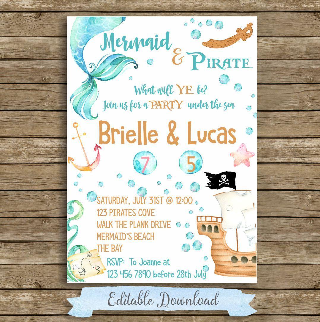 Pirate Mermaid Invitation, Sibling Birthday, Pirate Mermaid Party ...
