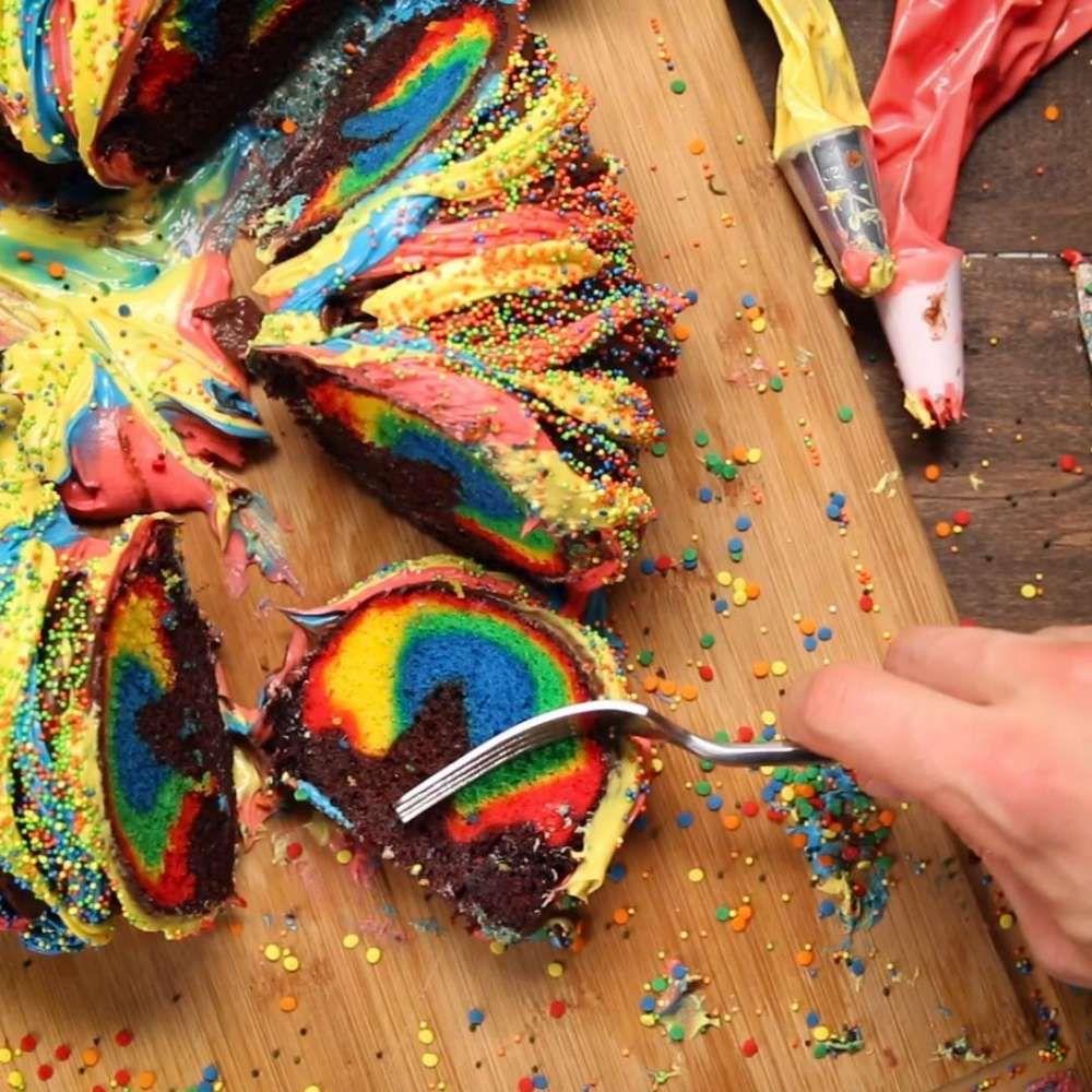 Chocolate rainbow surprise cake recipe by tasty