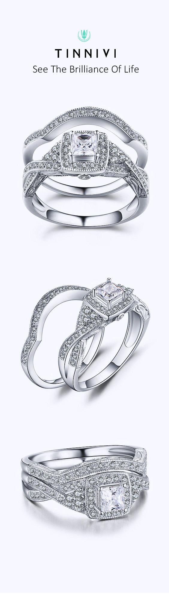 e6738c4c1d7 Tinnivi Princess Cut Gemstone 925 Sterling Silver Wedding Sets in ...