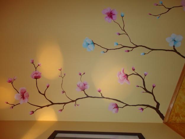 Pintura mural flores de cerezo pintadas a mano alzada - Pintar mural en pared ...