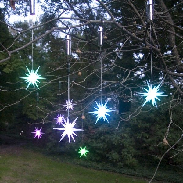 Color Changing LED Starburst Ornaments, set of 2 - 4\ - solar christmas decorations
