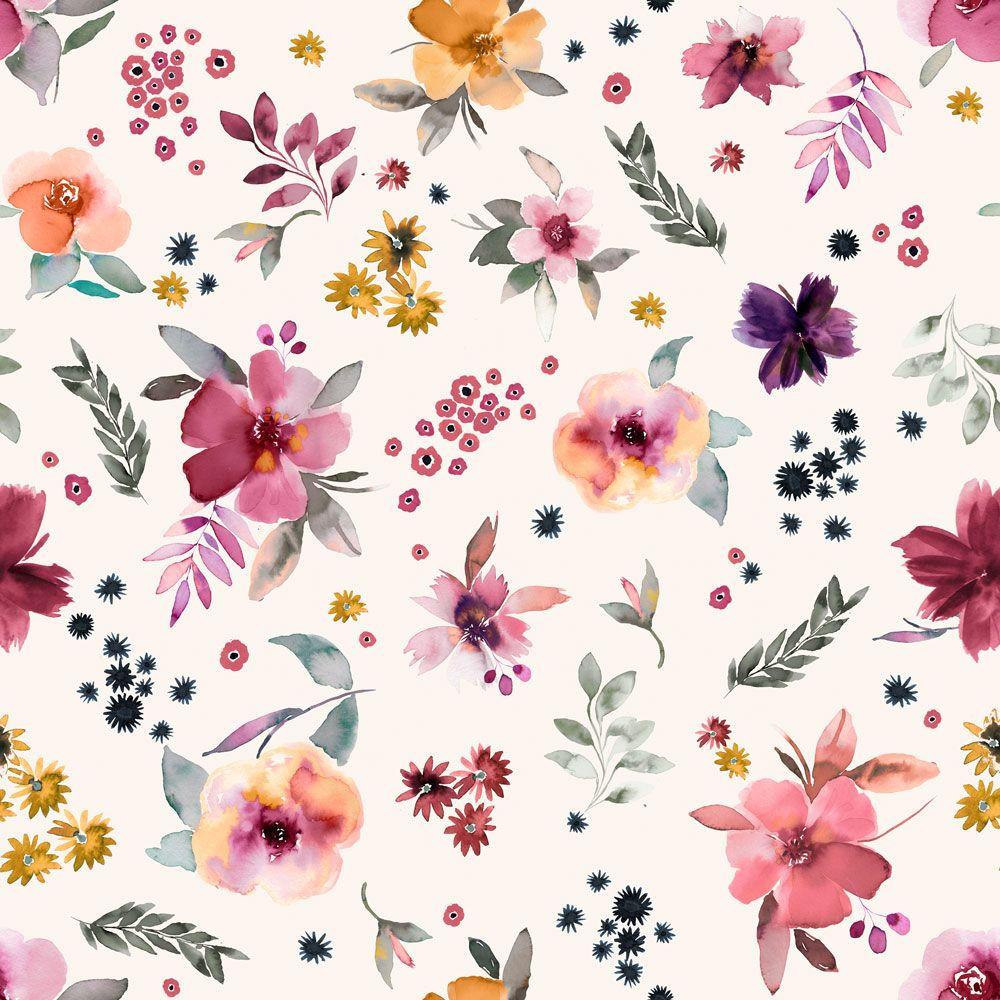 Flowers print and pattern by Nerida Hansen Print and Textiles available for licensing or outright sale #artlicense #artwork #artlicensing #floral #flora #watercolor #watercolour #painterly #conversationalart #fabricdesign #textiledesign #funprints #neridahansen #artforsale agency.neridahansen.com