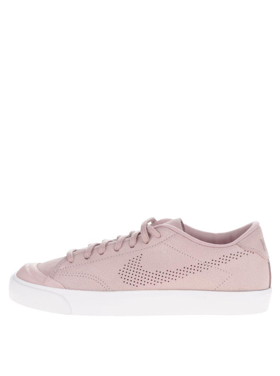 236bda8e3 Světle růžové dámské kožené tenisky s bílou podrážkou Nike All Court Premium