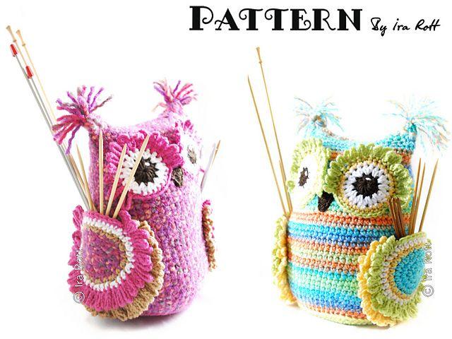 Hooty the Owl Buddy Hooks and Needles Organizer PDF Crochet Pattern ...