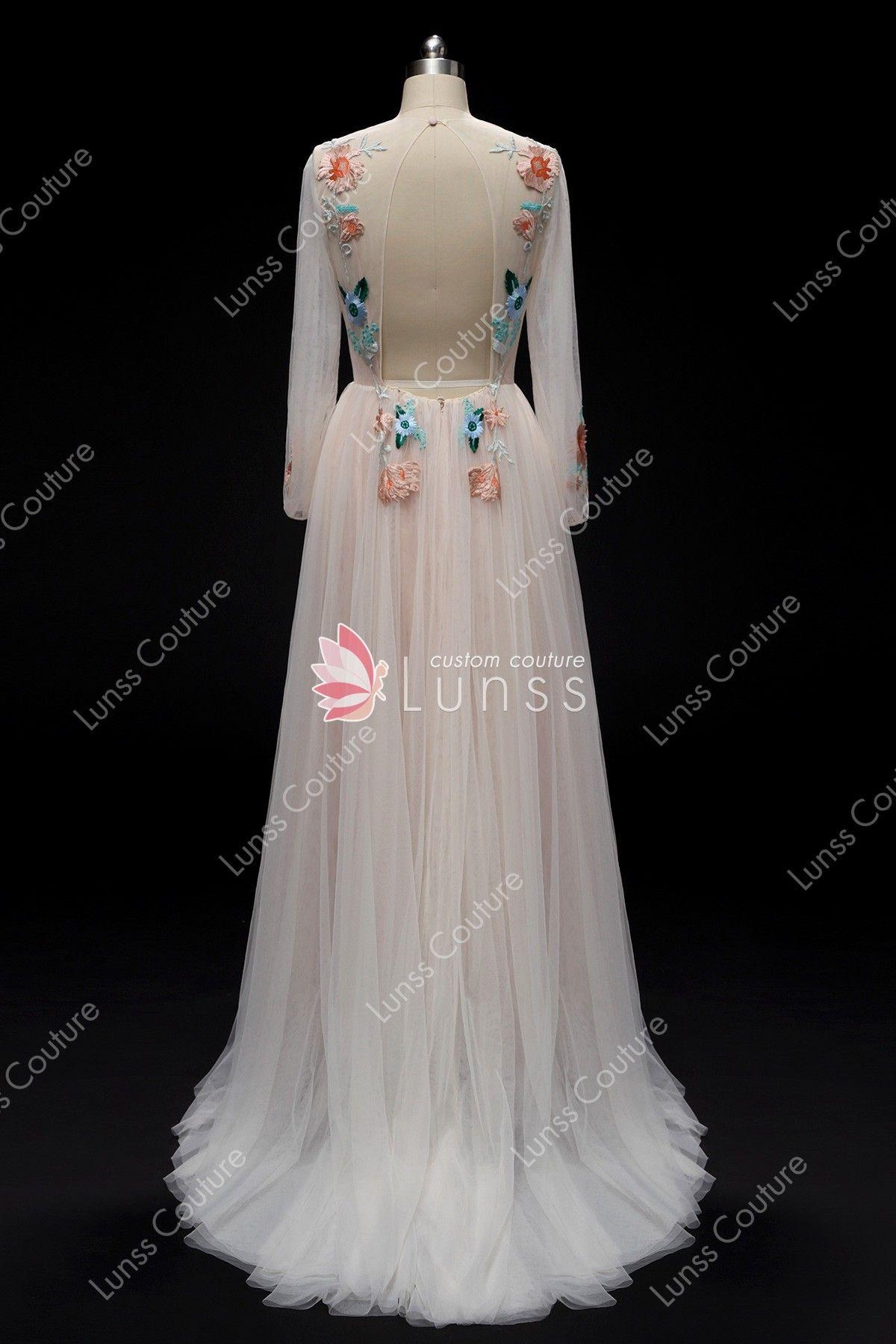 Vintage Pink Sleeved Embroidery Long Wedding Dress Long Wedding Dresses Dresses Tiered Wedding Dress [ 1800 x 1200 Pixel ]