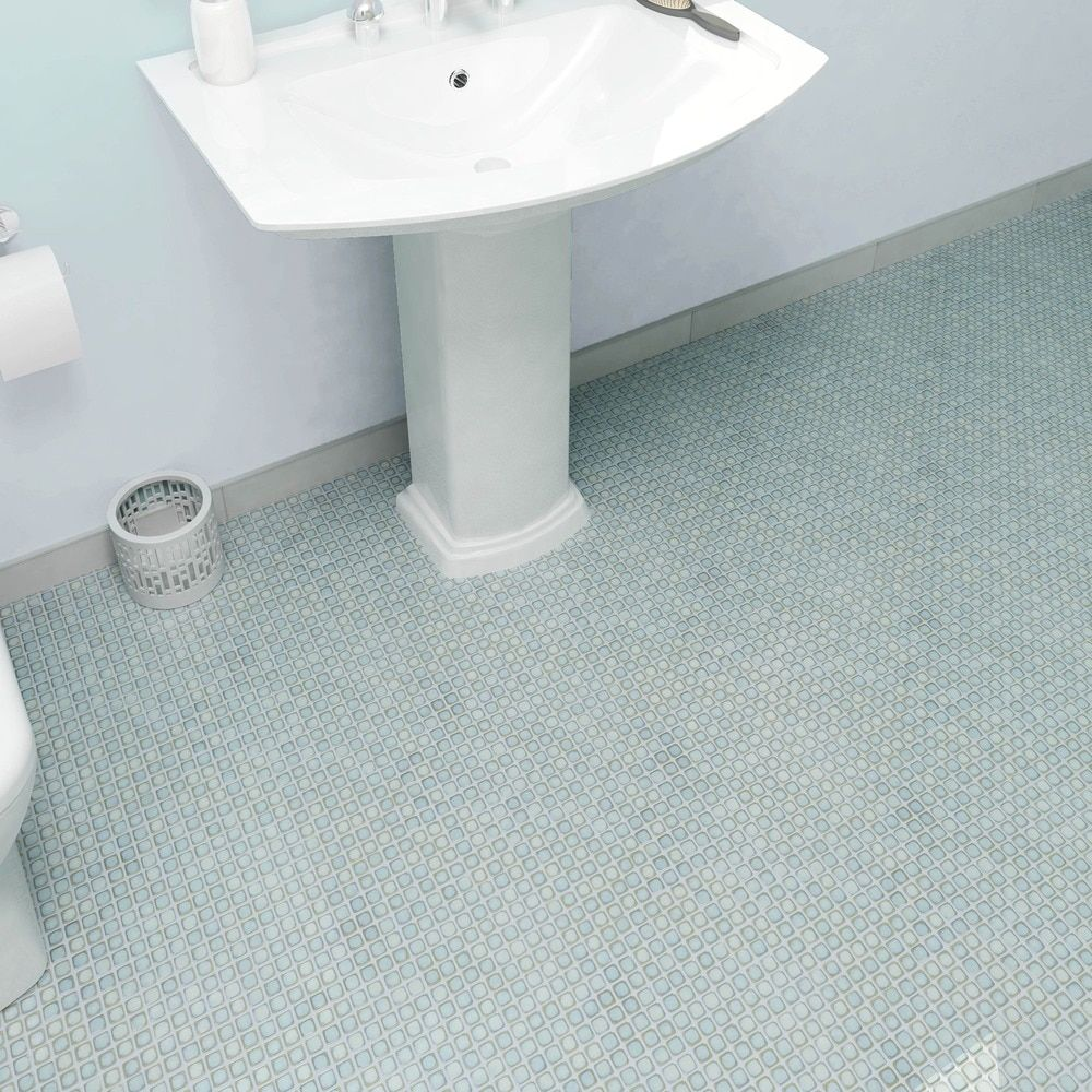 SomerTile 12.375 x 12.375-inch Jewel Marine Porcelain Mosaic Floor ...