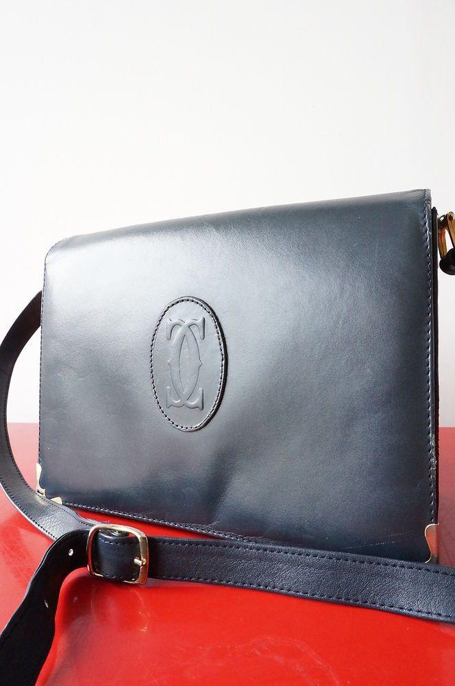 1396c5e11a SAC BAG CARTIER besace Pochette Cuir lEATher Bandouliere viNTage VTG purse
