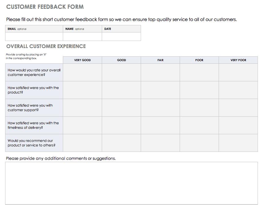 Free Feedback Form Templates Smartsheet Smartsheet