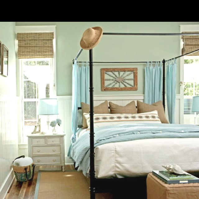 Beach Themed Bedroom Furniture: Beach House--love The Way The Woven Shades Give The Room