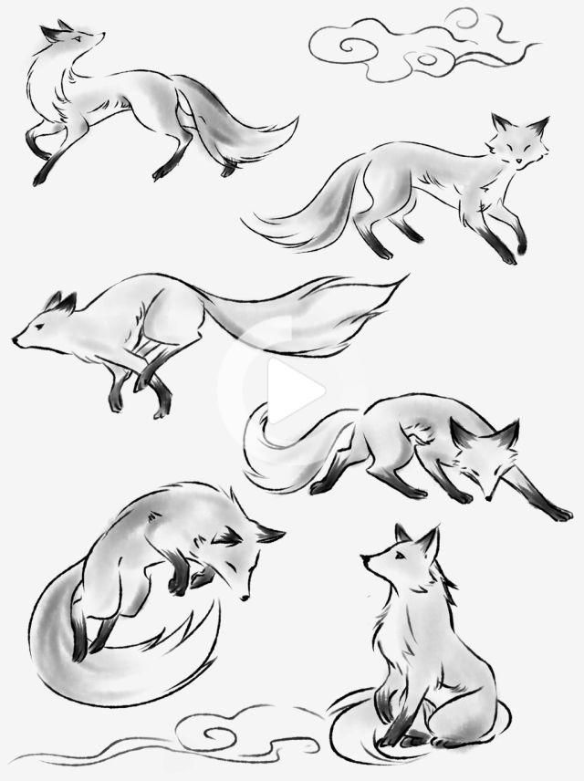Ink Animals Can Be Commercial Elements Fox Hand Painted Chinese Style, Ink, Animal, Fox PNG