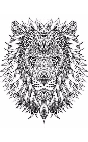Anti-coloring for adults. Art Therapy | VK | Lion coloring ...