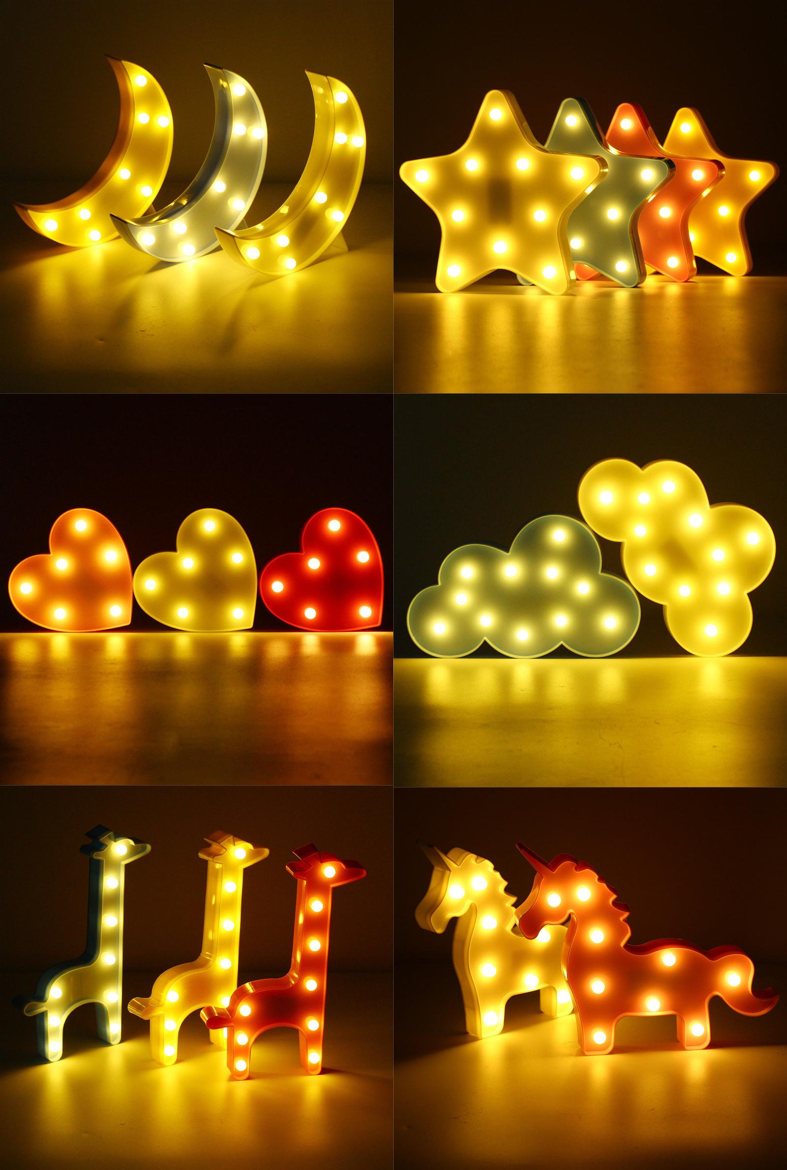 Cute LED Night Light Wall Battery Lamp Baby Kids Bedroom