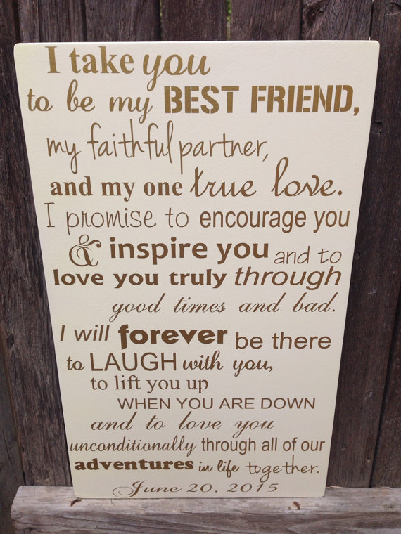 First Anniversary Gift For Him Wedding Vows Sign By