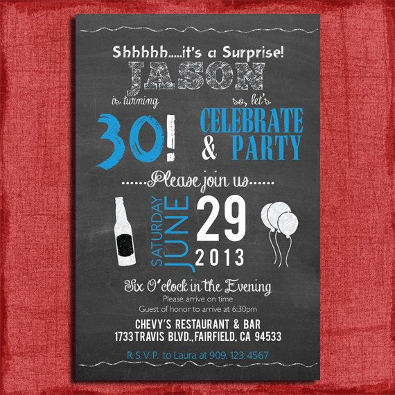Surprise 21st 30th 40th 50th Chalkboard Style Birthday Invitation 4x6 Or 5x7 For A Guy DIY Printable