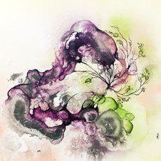 Abstrakt Kunst Til Salg abstrakt maleri til salg lilla og grøn. moderne farverigt maleri af