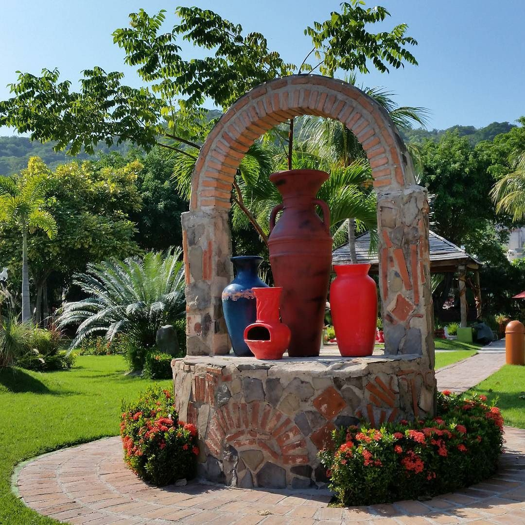 #RinconDeGuayabitos #RivieraNayarit  #Decameton Hotel #colorful #garden. Next to the #beaches #jars #sky #green #instacool #nofilter #instacolor by riviera_nayarit